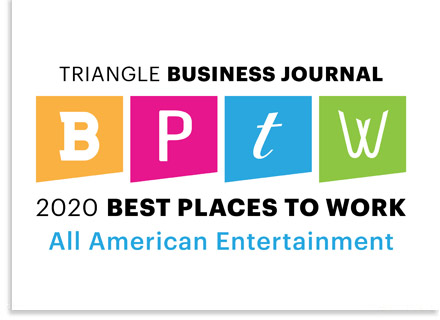 All American Entertainment named 2020 Best Place To Work by the Triangle Business Journal