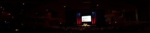 The audience listens to Biden's speech