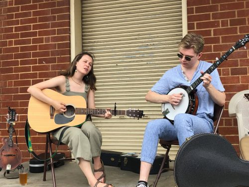 Folk Duo Allegedly Cousins Provided Live Music at the Pet Adoption Event