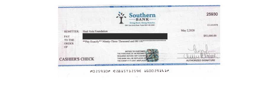 Although this bank check looks real, it's part of an event contract scam.